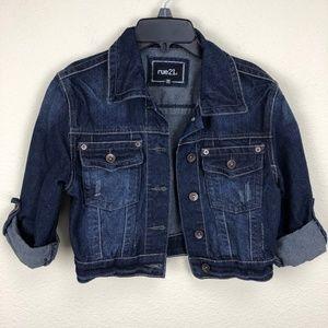 Rue 21 Crop Distressed Jean Jacket Size Medium